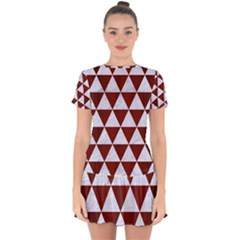 Triangle3 White Marble & Red Wood Drop Hem Mini Chiffon Dress by trendistuff