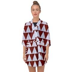 Triangle2 White Marble & Red Wood Half Sleeve Chiffon Kimono by trendistuff