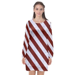 Stripes3 White Marble & Red Wood Long Sleeve Chiffon Shift Dress  by trendistuff