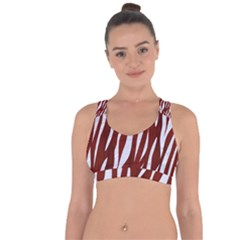 Skin3 White Marble & Red Wood Cross String Back Sports Bra by trendistuff