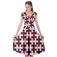 Puzzle1 White Marble & Red Wood Cap Sleeve Wrap Front Dress by trendistuff