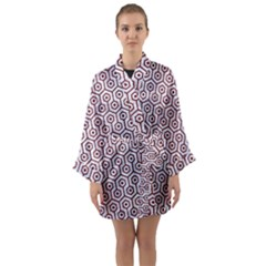 Hexagon1 White Marble & Red Wood (r) Long Sleeve Kimono Robe by trendistuff