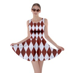 Diamond1 White Marble & Red Wood Skater Dress by trendistuff