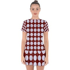 Circles1 White Marble & Red Wood Drop Hem Mini Chiffon Dress by trendistuff