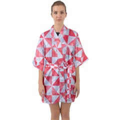 Triangle1 White Marble & Red Watercolor Quarter Sleeve Kimono Robe by trendistuff