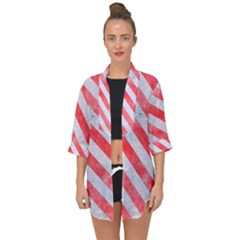 Stripes3 White Marble & Red Watercolor Open Front Chiffon Kimono by trendistuff