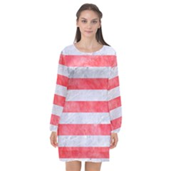 Stripes2white Marble & Red Watercolor Long Sleeve Chiffon Shift Dress  by trendistuff