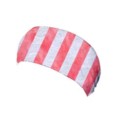 Stripes1 White Marble & Red Watercolor Yoga Headband by trendistuff