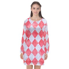 Square2 White Marble & Red Watercolor Long Sleeve Chiffon Shift Dress  by trendistuff