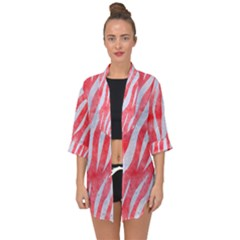 Skin3 White Marble & Red Watercolor Open Front Chiffon Kimono