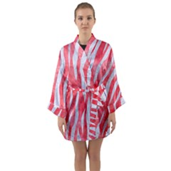 Skin3 White Marble & Red Watercolor Long Sleeve Kimono Robe by trendistuff