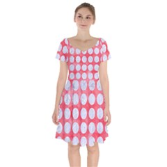 Circles1 White Marble & Red Watercolor Short Sleeve Bardot Dress by trendistuff