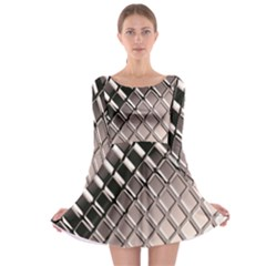 3d Abstract Pattern Long Sleeve Skater Dress