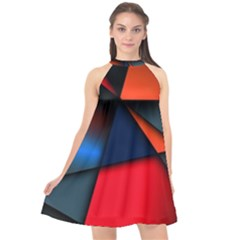 3d And Abstract Halter Neckline Chiffon Dress  by Sapixe