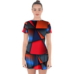 3d And Abstract Drop Hem Mini Chiffon Dress by Sapixe