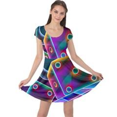 3d Cube Dice Neon Cap Sleeve Dress