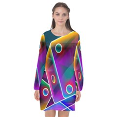 3d Cube Dice Neon Long Sleeve Chiffon Shift Dress  by Sapixe