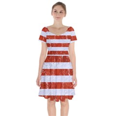Stripes2white Marble & Red Marble Short Sleeve Bardot Dress by trendistuff