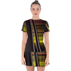 Abstract Multicolor Vectors Flow Lines Graphics Drop Hem Mini Chiffon Dress by Sapixe