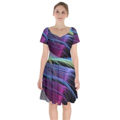Abstract Satin Short Sleeve Bardot Dress by Sapixe