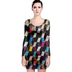 Abstract Multicolor Cubes 3d Quilt Fabric Long Sleeve Bodycon Dress