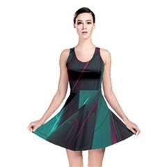 Abstract Green Purple Reversible Skater Dress