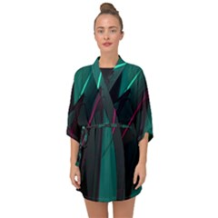 Abstract Green Purple Half Sleeve Chiffon Kimono by Sapixe