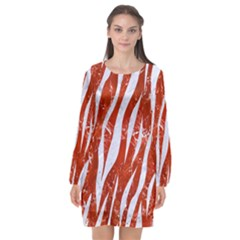 Skin3 White Marble & Red Marble Long Sleeve Chiffon Shift Dress  by trendistuff