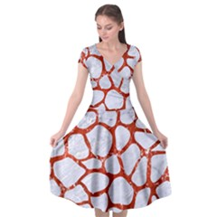 Skin1 White Marble & Red Marble Cap Sleeve Wrap Front Dress by trendistuff