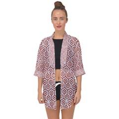 Hexagon1 White Marble & Red Marble (r) Open Front Chiffon Kimono by trendistuff