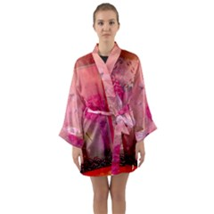 Wonderful Butterflies With Dragonfly Long Sleeve Kimono Robe by FantasyWorld7