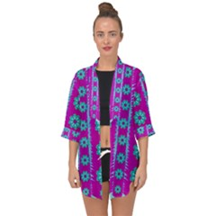 Fern Decorative In Some Mandala Fantasy Flower Style Open Front Chiffon Kimono