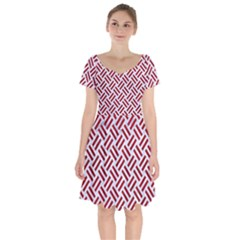 Woven2 White Marble & Red Leather (r) Short Sleeve Bardot Dress by trendistuff