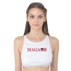 Maga Make America Great Again With Us Flag On Black Tank Bikini Top by snek