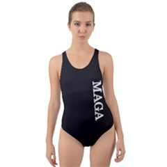 Maga Make America Great Again With Us Flag On Black Cut Out Back One Piece Swimsuit by snek