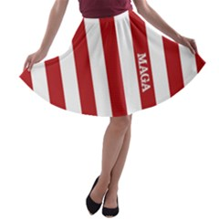Maga Make America Great Again With Us Flag On Black A Line Skater Skirt by snek