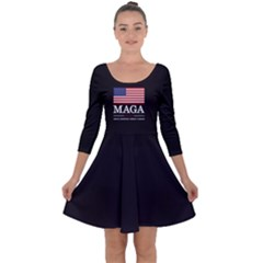 Maga Make America Great Again With Us Flag On Black Quarter Sleeve Skater Dress by snek