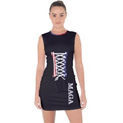 Maga Make America Great Again With Us Flag On Black Lace Up Front Bodycon Dress by snek