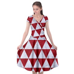 Triangle3 White Marble & Red Leather Cap Sleeve Wrap Front Dress