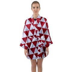 Triangle3 White Marble & Red Leather Long Sleeve Kimono Robe by trendistuff