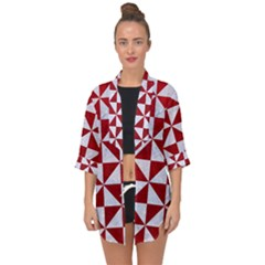 Triangle1 White Marble & Red Leather Open Front Chiffon Kimono by trendistuff