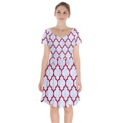 Tile1 White Marble & Red Leather (r) Short Sleeve Bardot Dress by trendistuff