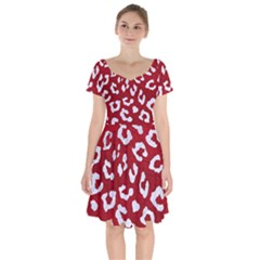 Skin5 White Marble & Red Leather (r) Short Sleeve Bardot Dress by trendistuff