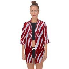 Skin3 White Marble & Red Leather Open Front Chiffon Kimono