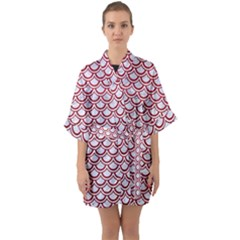 Scales2 White Marble & Red Leather (r) Quarter Sleeve Kimono Robe by trendistuff