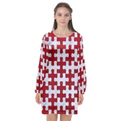 Puzzle1 White Marble & Red Leather Long Sleeve Chiffon Shift Dress