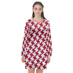 Houndstooth2 White Marble & Red Leather Long Sleeve Chiffon Shift Dress  by trendistuff