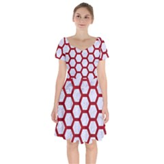 Hexagon2 White Marble & Red Leather (r) Short Sleeve Bardot Dress by trendistuff