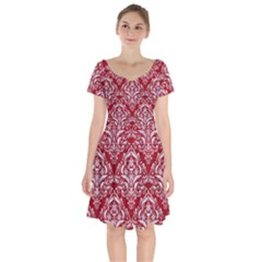 Damask1 White Marble & Red Leather Short Sleeve Bardot Dress by trendistuff