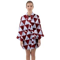 Triangle3 White Marble & Red Grunge Long Sleeve Kimono Robe by trendistuff